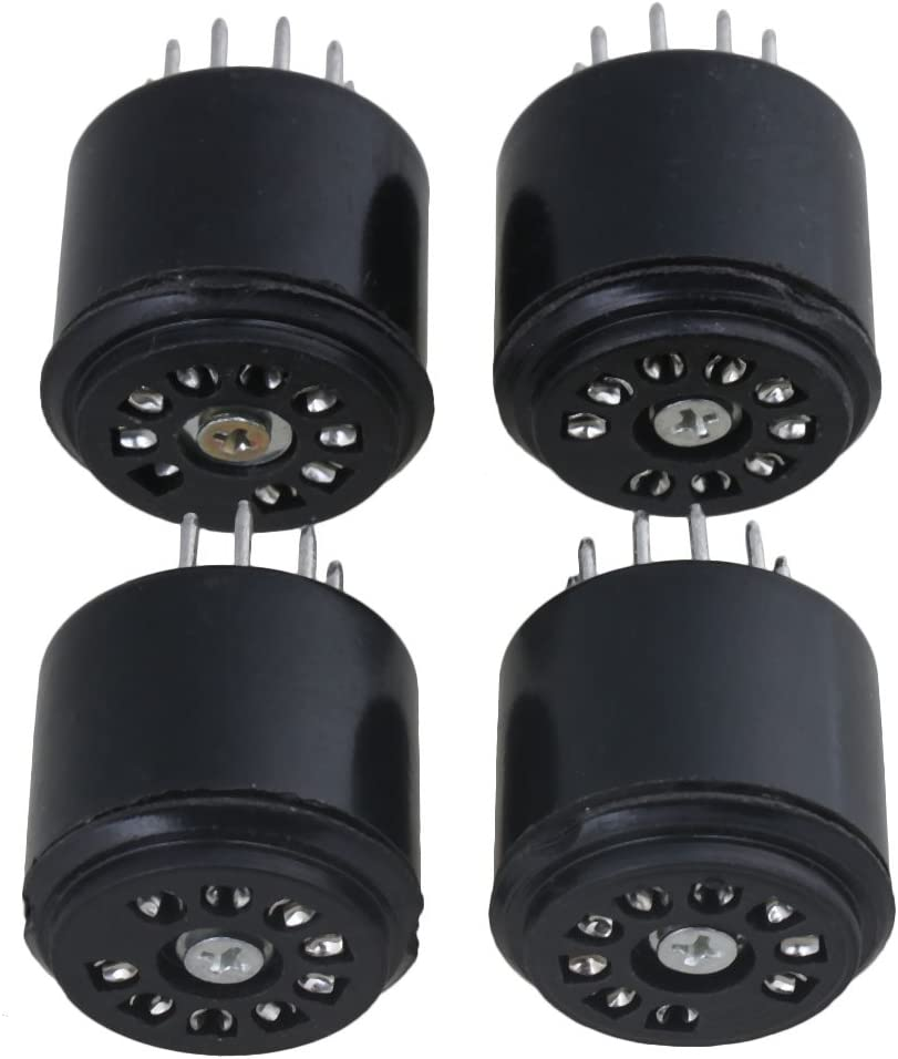 Yibuy 2.7x2.27cm Black Bakelite 9-pin Tube Socket 12AX7 Audio Tube Amplifier Vacuum Tube Base Pack of 4