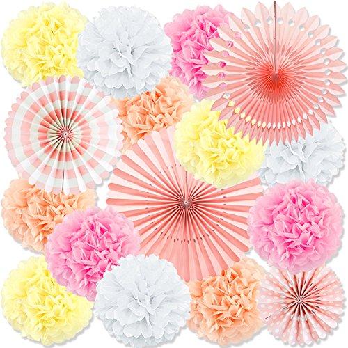 Pink Fiesta Decorative Tissue Paper Fans Flowers Pom Poms Wedding Decorations, 16 PCS