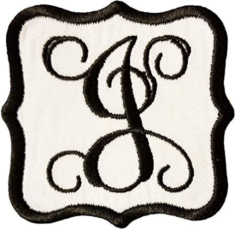 """Black Script  2/"""" Letter /""""G/"""" Iron On Embroidered Applique Letters"""