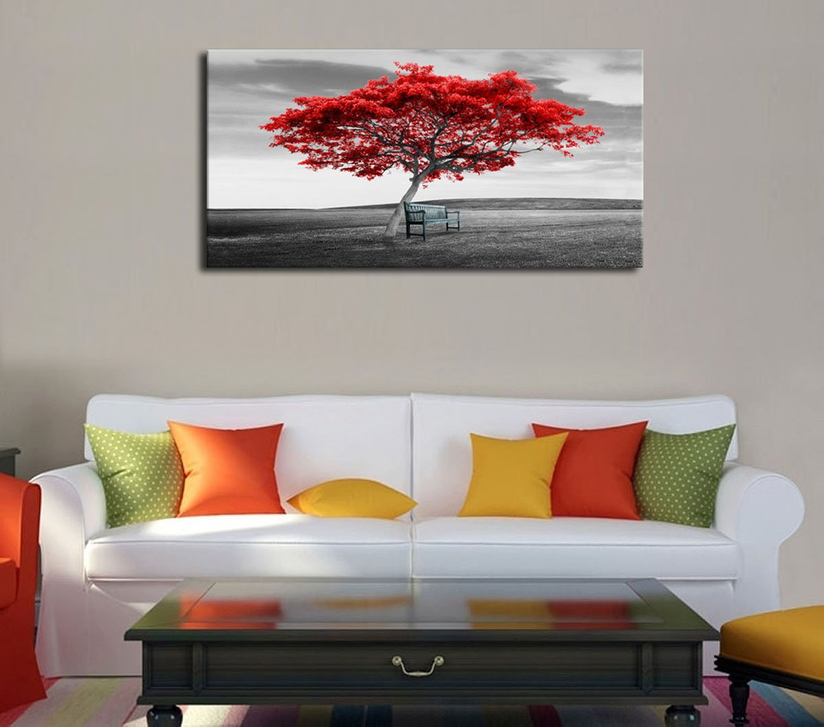 Canvas Wall Art Big Tree Red Leaf with Chair on Grass Wall Decor Modern Artwork Long Picture Prints Contemporary Painting Black and White Scenery for Living Room Bedroom Home Decoration 20 x 40