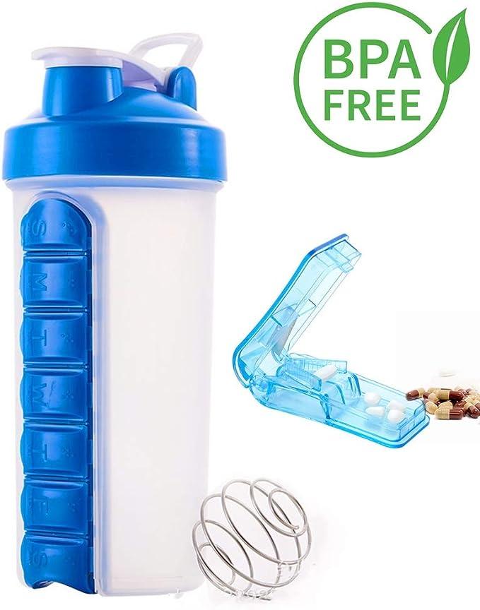 Botella mezcladora de proteínas creativa Needyounow, botella de agua con organizador de pastillas, taza de agua portátil con cortador de pastillas, ...