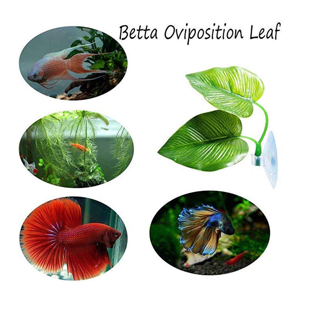 Sinwo Artificial Plant Leaf Betta Hammock Fish Rest Bed Tropical Aquarium Decor (Green A)