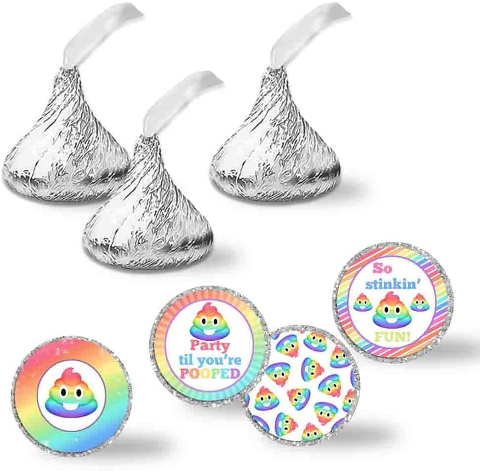 108 POOP EMOJI Birthday Party Favors Stickers Labels for Hershey Kiss