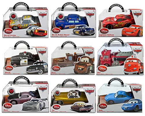 Disney Pixar Diecast Cars Movie Toy Collector Vehicle Set Lighning McQueen-Doc as Hudson Hornet-Tow Mater Truck-Red Fire Truck-Sheriff Polic Car-Boost-Sally-Tex-Darrell Cartrip 1:43 Scale - Tow Deluxe Truck Red