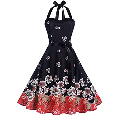 918f0f69d3 Women s Rockabilly 50s Vintage Floral Halter Cocktail Swing Dress Elegant  1950 s Prom Party Evening Dress Black