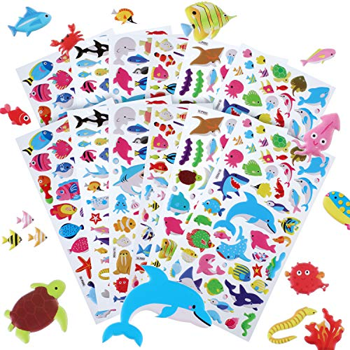 Hsei 12 Sheets Puffy Stickers Fish Stickers PVC Foam Sea Animal Stickers for Ocean Birthday Party Favors