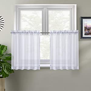 "XWTEX White Kitchen Tier Curtains Rod Pocket Privacy Café Sheer Curtains Drapes Half Window Curtain Panels for Living Room, 2 Panels, 68"" W 36"" L"