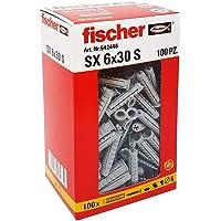 Fischer 542446tacos con tornillo Izquierda, Gris, 6x 30mm