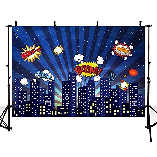 MEHOFOTO 8x6ft Blue Photo Background Super Hero Themed City Building Children Boom Cloud Birthday Backdrop Banner for Photography]()