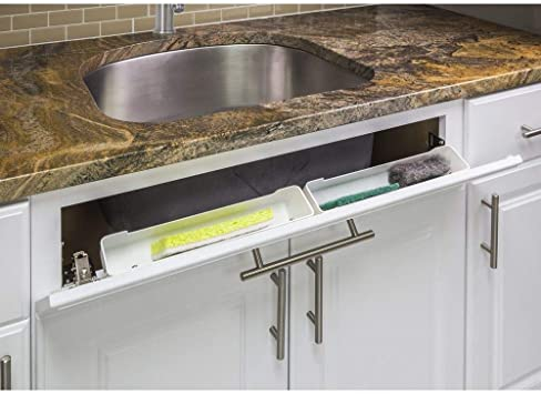 """White 14/"""" Kitchen Sink Cabinet Front Tip Out Tray Tilt Out Sponge Holder Replace"""