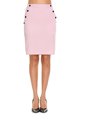 6c682d4af84 Shine Women Knee Length Straight Pencil Skirt With Button Detail ...