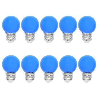 10X E27 Bombilla de Color 1W Bombilla Azul 100LM Decoración LED Lámpara Equivalente a Halógenas 10W