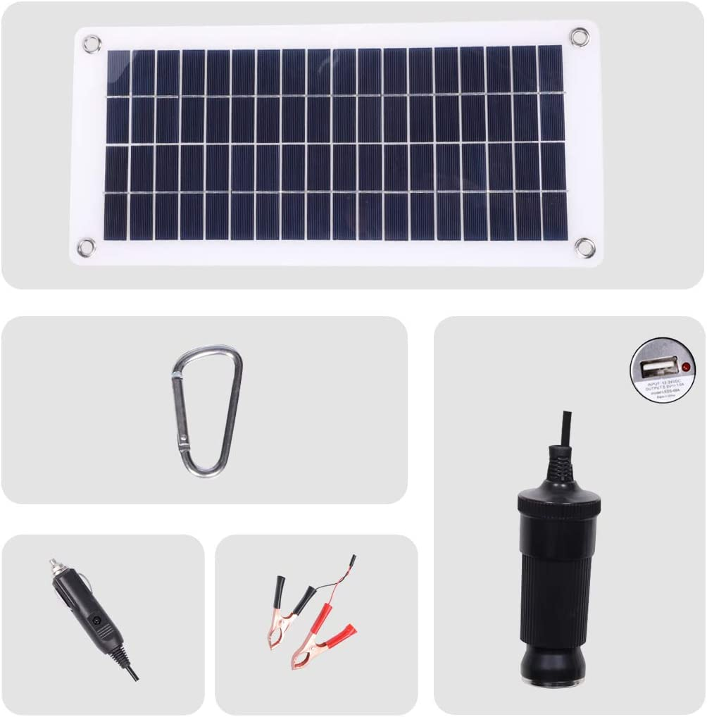 18V 12V 12W Solar Car Battery Charger and Maintainer 12W Portable Flexible Solar Panel Trickle Charger with USB, Cigarette Lighter Plug, Alligator Clip for Motorcycle RV Boat Marine Snowmobile