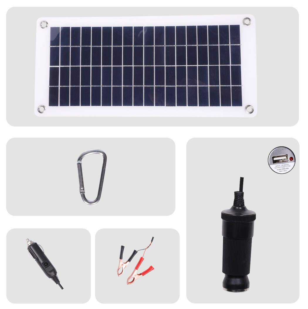 TISHI HERY 18V 12V 12W Solar Car Battery Charger and Maintainer Portable Flexible Solar Panel Trickle Charger with USB, Cigarette Lighter Plug, Alligator Clip for Motorcycle RV Boat Marine Snowmobile by TISHI HERY