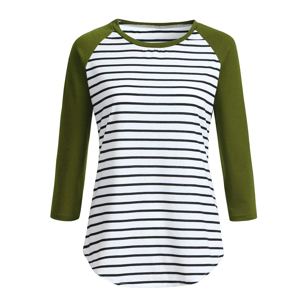 Women Simple Pullover Tops,Ladies 3/4 Sleeve Raglan Striped Shirt Casual Tunic Blouse (XL, Army Green)