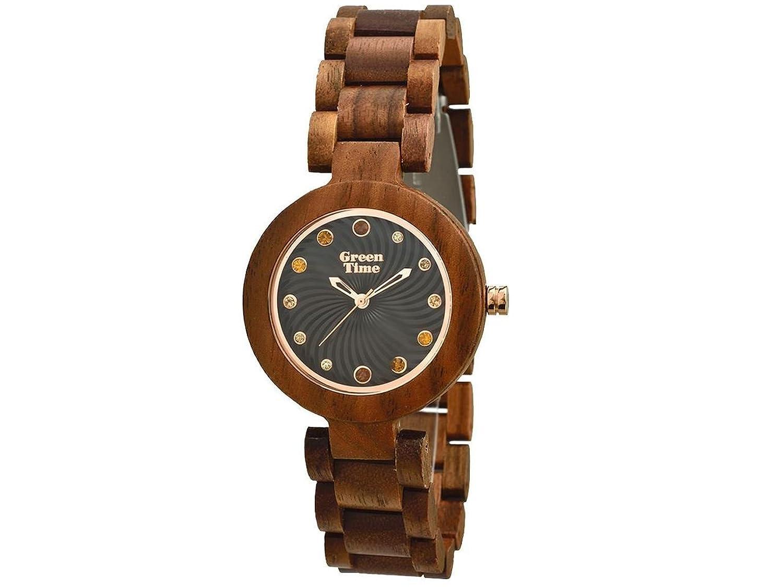 Green Time Uhr aus Holz von Nussbaum mit Strass zw054 a