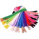 50x Chytaii Fermeture Eclair Tirette Zip en Nylon Multicolore Aléatoire 20cm