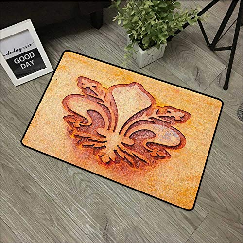Bathroom Entry mats Fleur De Lis,Lily Flower Symbol on Plate Floral Design Royal Arms France Sign Cultural Print, Orange,with Non Slip Backing,16