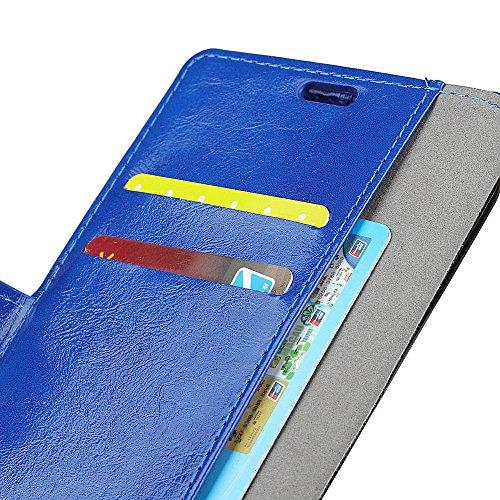 Lusee PU Caso de cuero sintético Funda para Asus ZenFone Max M1 ZB555KL 5.5 Pulgada Cubierta con funda de silicona rojo caballo Loco patrón azul