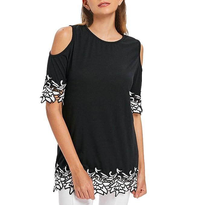Damen Sommer Kurzärmlig Blumen BLUSE Bluse-Oberteile Locker T-Shirt Freizeit