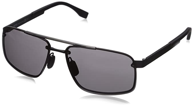 3bb93e7f2 BOSS by Hugo Boss Mens B0773s Rectangular Sunglasses, Black Carbon/Gray, 63  mm