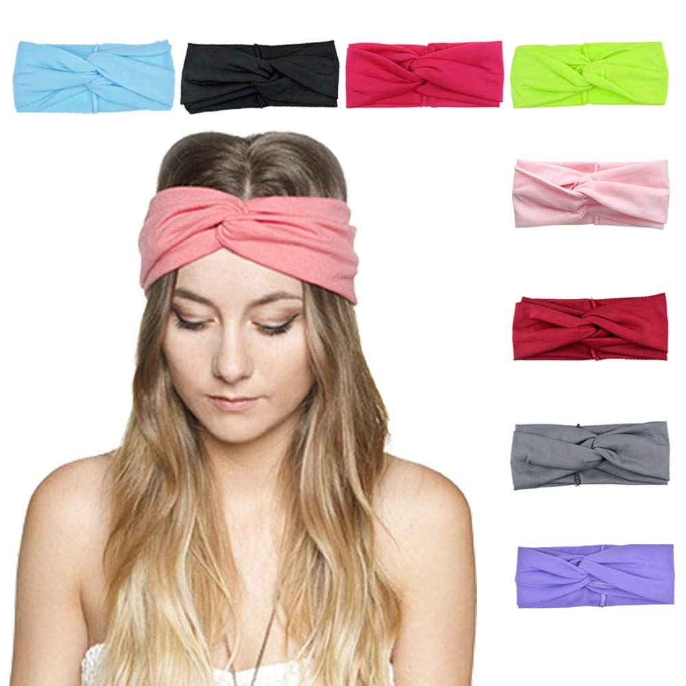 DRESHOW Women 8 PCS Twisted Headbands Headwraps Hair Bands Bows Accessories (Style C)