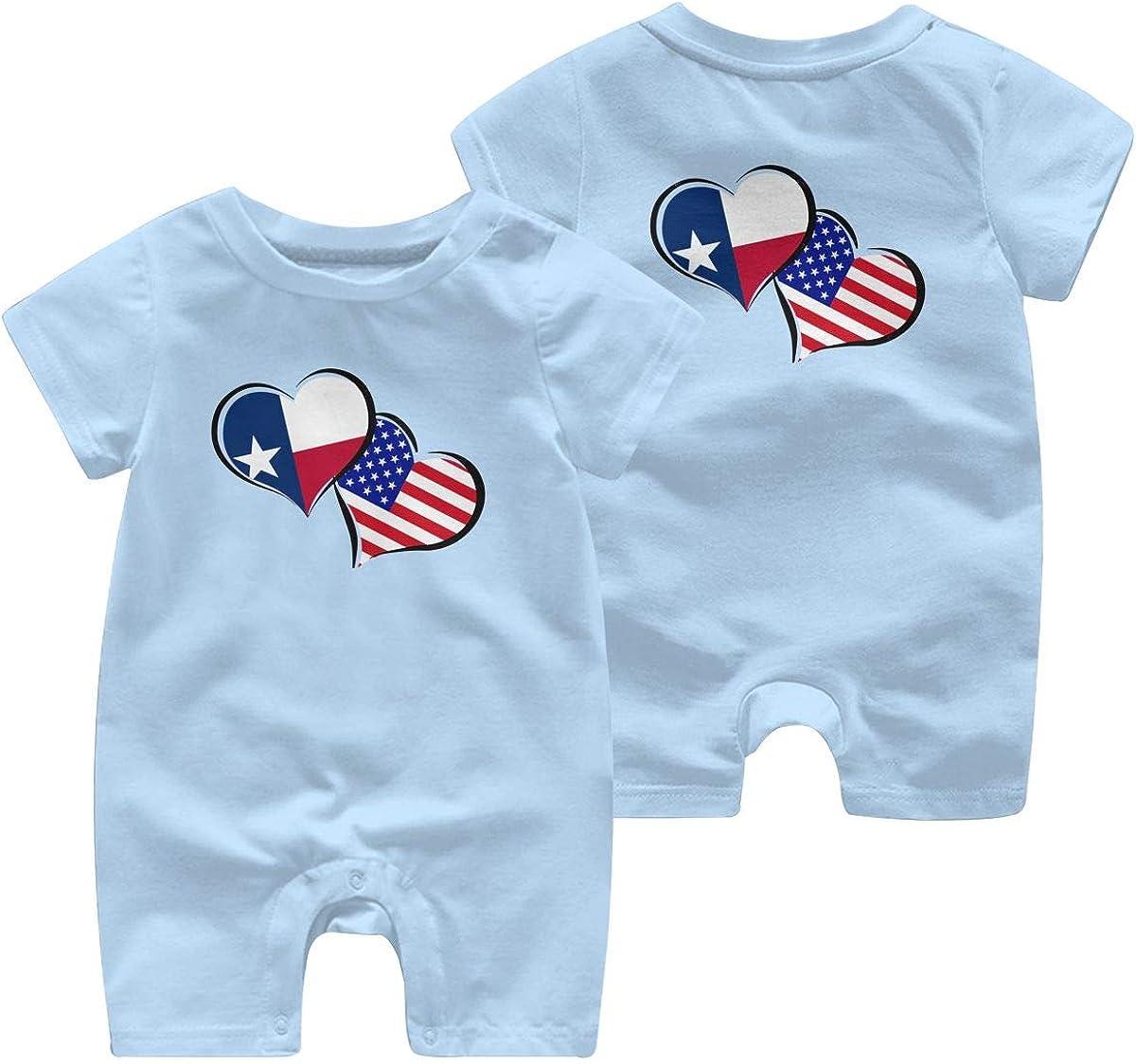 Baby Girls Bodysuits Texas American Flag Hearts Love Infant Short Sleeve Romper Jumpsuit