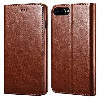 icarercase iPhone 7 Plus/8 Plus Wallet Case, Premium PU Leather Folio Flip Cover with Kickstand and Credit Slots for Apple iPhone 7 Plus/8 Plus 5.5 Inch (Brown)
