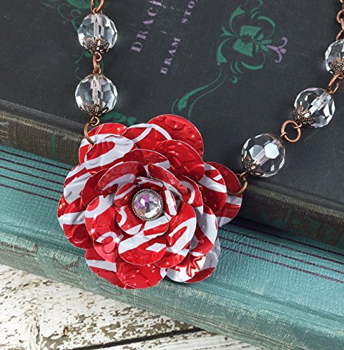Coca Cola Necklace (Red Coke Rose and Crystal Bead Necklace. Recycled Soda Can Flower Art. Coca Cola)