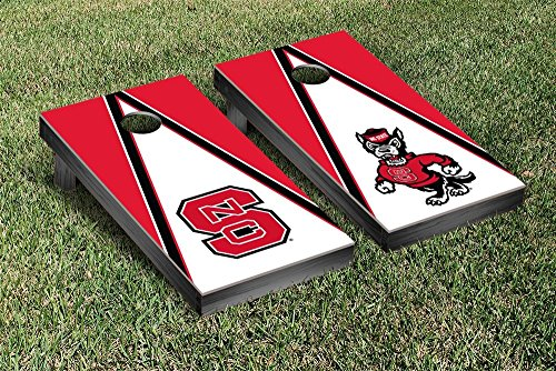 North Carolina State Wolfpack Regulation Cornhole Game Set Split Triangle Version by Victory Tailgate