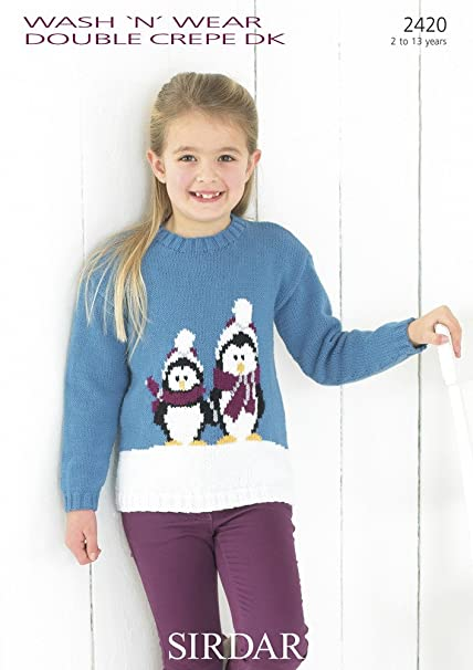 Sirdar Knitting Pattern Wash N Wear Dc Dk 2420 Girls Christmas