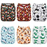 ALVABABY Reuseable Washable Pocket Cloth 6 diapers + 12 inserts (Boy Color)6DM14