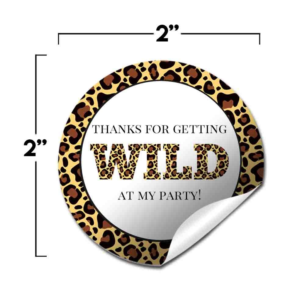 40 2 Party Circle Stickers by AmandaCreation Great for Party Favors Envelope Seals /& Goodie Bags Leopard Print Themed Birthday Party Thank You Sticker Labels