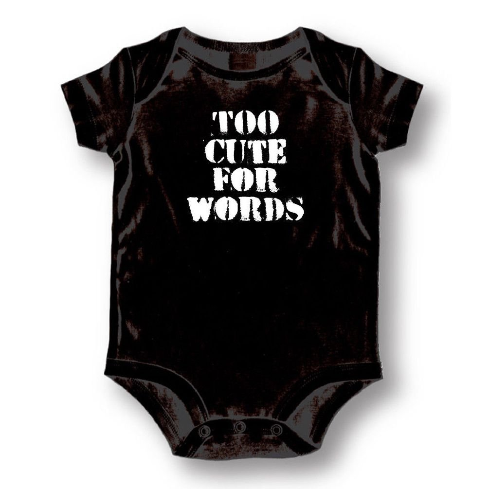 Too Cute For words Baby Boys Girls Toddlers Funny Romper 0-24M