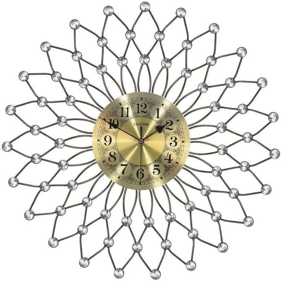 fzYRY Golden 18 Inch Fashion and Retro Combination of Iron Material Light Wall Clock, Starry Craft Water Masonry Wall Clock, Suitable for Living Room, Kitchen, Room Wall Clock
