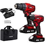 Forte Cordless Drill Combo Kit - 20V Max Drill Driver and Impact Driver Cordless Power Tool Set with 2Pcs Lithium-Ion Batteri