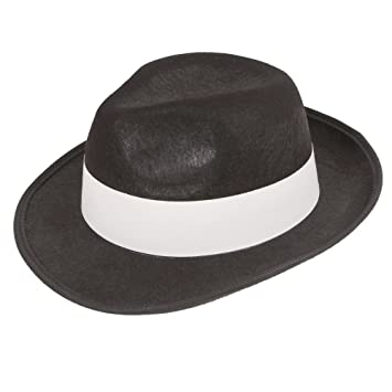 0816eeb3f6d Felt Gangster Hat - Black with white band Adult Fancy Dress Accessory   Amazon.co.uk  Toys   Games