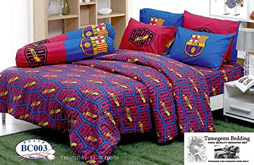 FCB Barcelona Fc Football Club Soccer Team Official Licensed Bed Sheet Set, Fitted Bed Sheet, Pillow Case, Bolster Case (Not Included Comforter) BC003 Set B (Queen 60