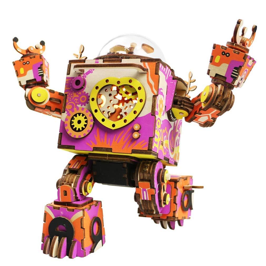 D010 3d diy木製パズルビルディングブロックメカニカルトランスミッションおもちゃ、ロボット時計仕掛けのオルゴールキッズギフト 3d、女の子&男の子誕生日と休日のプレゼント B07QN497F3 D010 Colorful B07QN497F3, カサマシ:dff832af --- m2cweb.com
