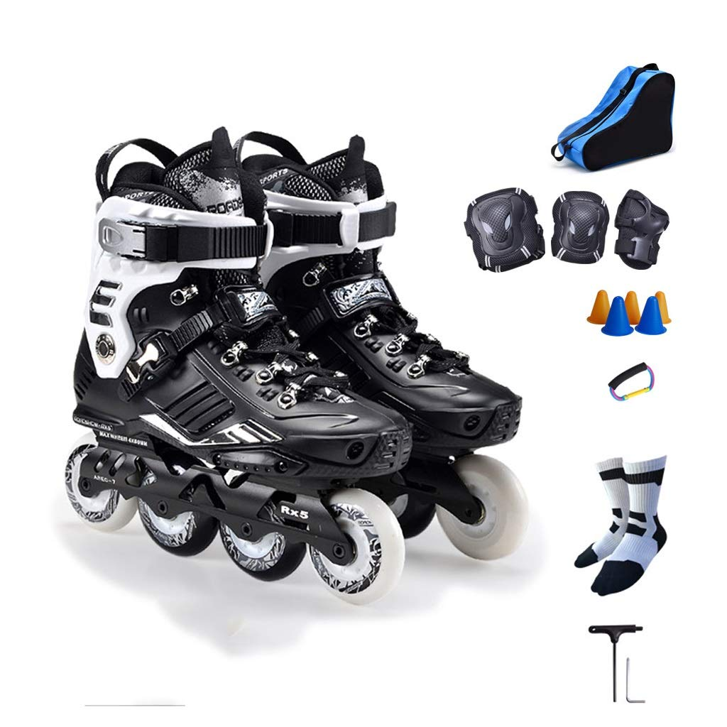 YANGXIAOYU Inline Skates, 3D Aluminum Alloy Bracket Inline Skates Set Black White Suitable for Men and Women Boys Girls (Color : Black, Size : 43 EU/10 US/9 UK/26.5cm JP)