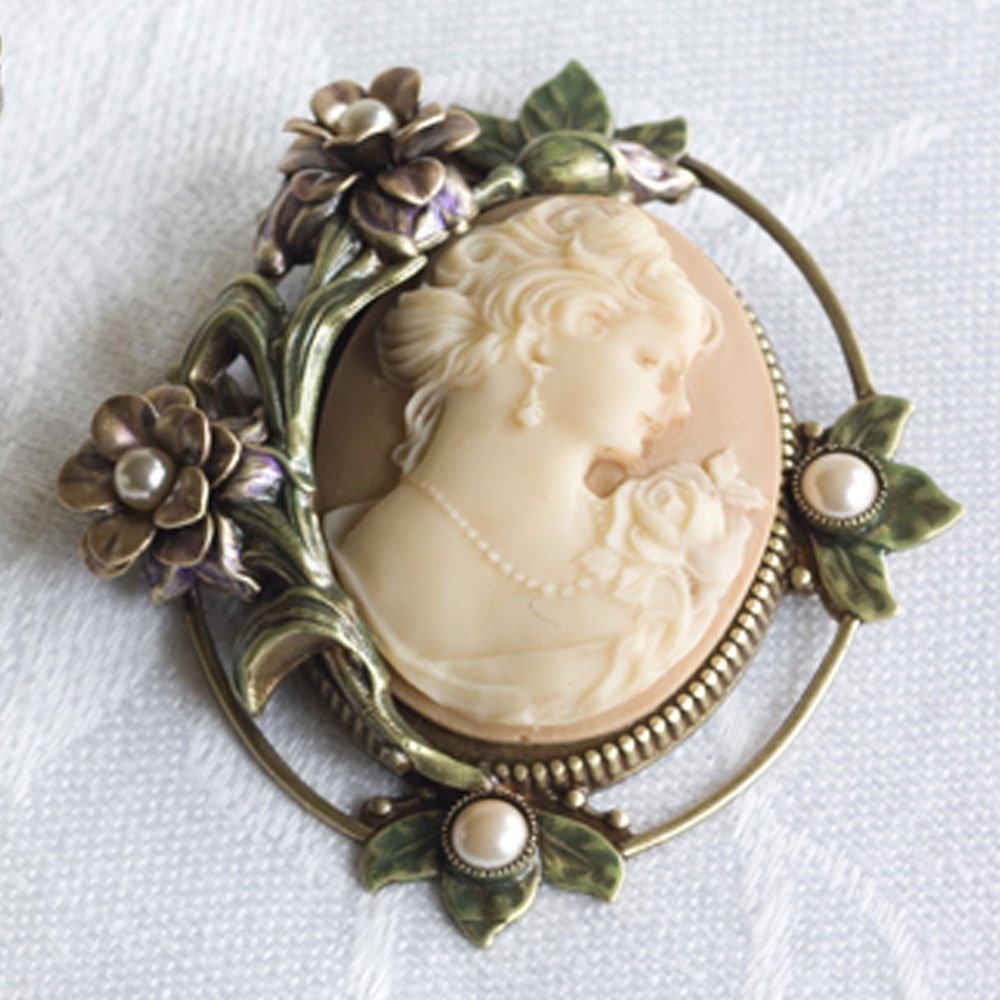 Sweet Romance Antique Style Cameo and Roses Vintage Brooch