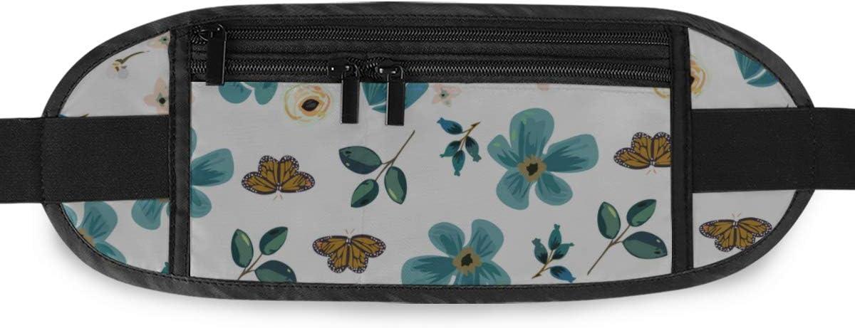 Retro Floral Pattern Garden Flowers Butterflies Running Lumbar Pack For Travel Outdoor Sports Travel Waist Pack,travel Pocket With Adjustable Belt