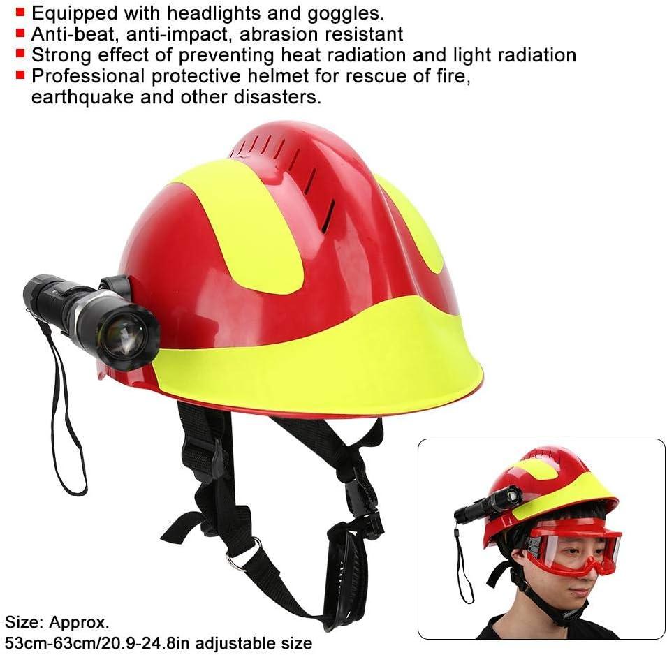 Hopcd Cascos de Seguridad de Rescate de Emergencia Casco de Protecci/ón contra Incendios Aiti-Impact con Faro y Gafas tama/ño Ajustable 53cm-63cm//20.9-24.8in