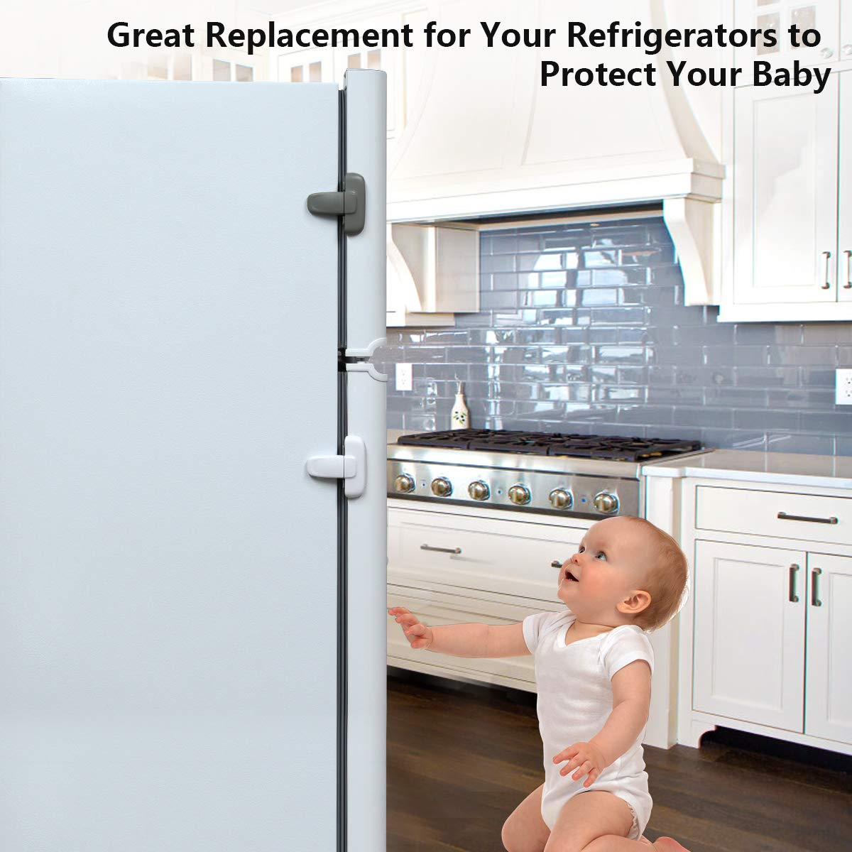 Refrigerator Fridge Freezer Lock Safety Child Lock for Door Cupboard Oven NO Tools Needed,Easy to use White(2 Pack)