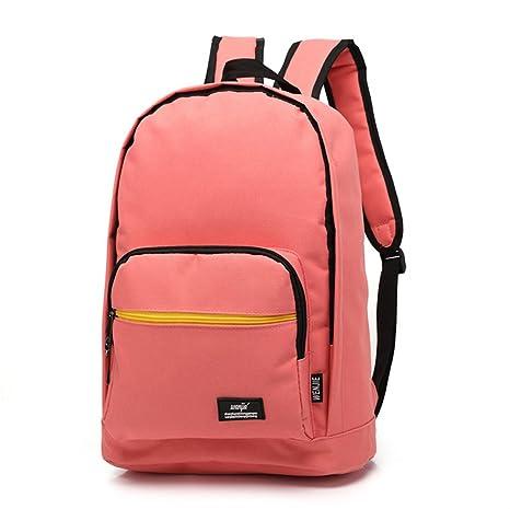 Saylla Mochila Moda para Niñas Adolescente Tela Color Sólido Bolsas para Portátil Mochilas Escolares(Rosa