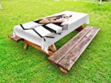 Ambesonne English Bulldog Outdoor Tablecloth, Pure Breed Bulldog with Glasses and Books Hardworking Animal, Decorative Washable Picnic Table Cloth, 58 X 84 inches, Black Pale Brown White