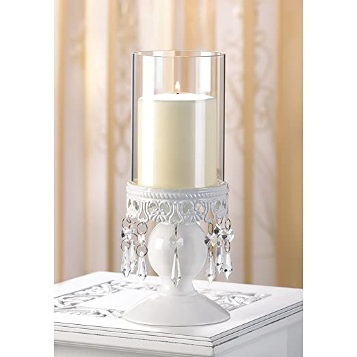Christmas Tablescape Decor - White Victorian hurricane lantern candle holder with crystal chandelier style dangles