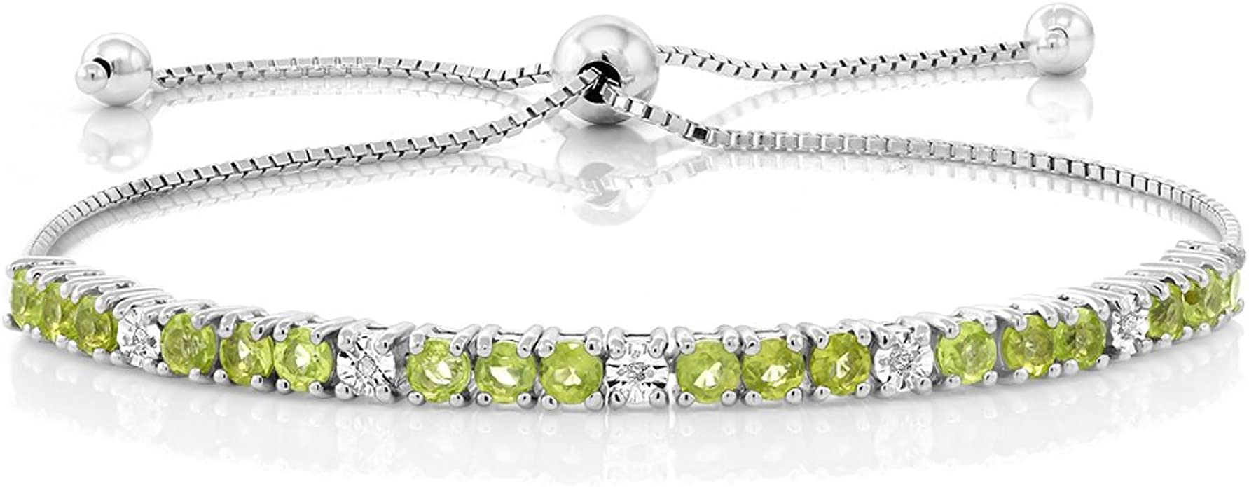 Details about  /4mm Round Cut Natural Peridot Gemstone Sterling 925 Silver Tennis Bracelet