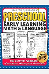 Preschool Early Learning Workbook, Math & Language Activity Book for Kids Age 3 4 5: Letters Tracing Workbook , Counting Objects, Preschool Workbook, Number Tracing Paperback