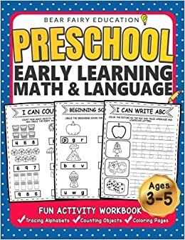 Amazon Preschool Early Learning Workbook Math Language Activity Book For Kids Age 3 4 5 Letters Tracing Counting Objects